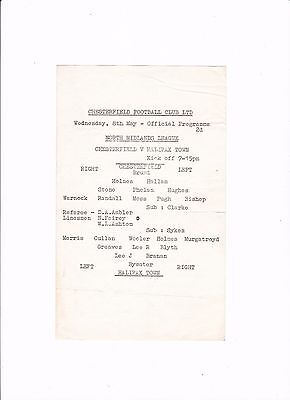 1967/68 CHESTERFIELD v HALIFAX TOWN (North Midlands League) VERY RARE