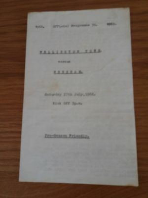 Rare Wellington Town V Wrexham Pre Season Friendly 68-9 2 Pager Very Rare