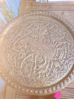 """Large Oriental Embossed Brass Tray/Table Top 24"""""""
