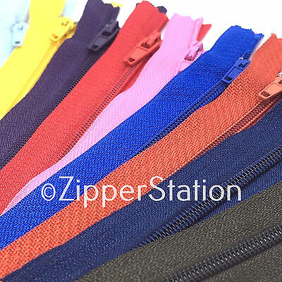 25 Assorted Nylon Closed End Zips -  For Dress Upholstery Craft & Zip Repair