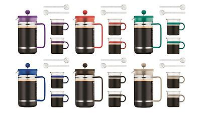 Bodum 8 Cup and 2 Mugs Coffee Plunger Set - French Press & Cups with Spoons