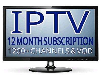 IPTV 12 Month Subscription (1200+ Chan) VOD, *MAG*ANDROID*M3U* BEST ON EBAY!!