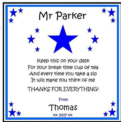 Personalised Drink Coaster-Teacher Teaching Assistant BLUE STAR - Thank you gift