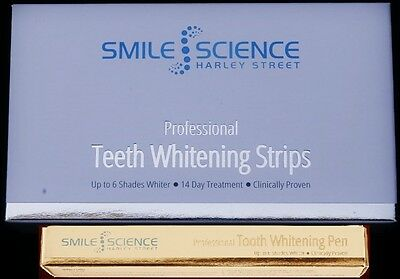 SMILE SCIENCE HARLEY STREET PROFESSIONAL  TEETH WHITENING STRIPS + PEN (bundle)