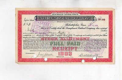 Original Stock Certificate Rare Fractional 1/3 The pennsylvania Railroad Co.1903