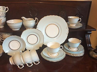 Vintage Colclough fine china England pale blue tea set x 6