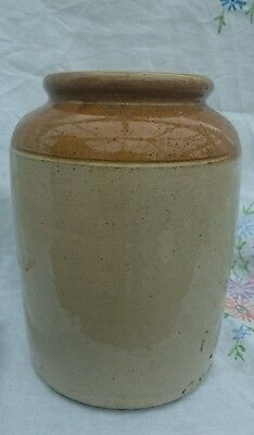 Large Stoneware Jar Stone Crock Vintage Kitchen Utensil or Food Storage Pot 8""