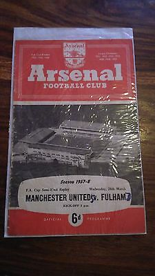Manchester Utd vs Fulham 1957/58 FA Cup Semi Final Replay at Arsenal