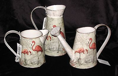 Flamingo Decorative Jugs Or Watering Can Vintage Style Cream Pink & Gold 3Types