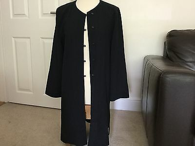 Vintage Jean Muir Long Lightweight Jacket. Navy. Wool. Size 14
