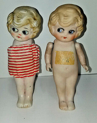 """Bisque Doll (2) Frozen Charlotte Kewpie w Jointed Arms Japan 6"""""""
