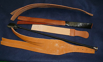 Job Lot leather tawse school strap 2 3 4 tail brown leather & riding crop