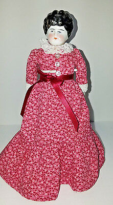 """9"""" Antique China Head Low Brow Doll with Red Dress"""