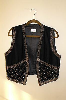 VTG 70s Wool Embellished Ethnic German Folk Boho Studded embroidered Hippy Vest