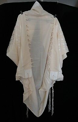 Used Kosher Tallit Prayer Shawl 100% Wool Size 50 64X50 Inch 164X128 Cm #1299