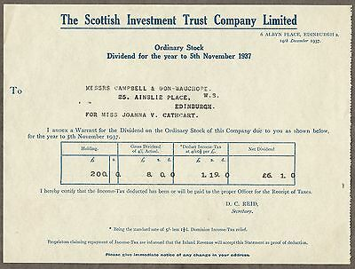 The Scottish Investment Trust Company Limited Dividend Certificate 1937