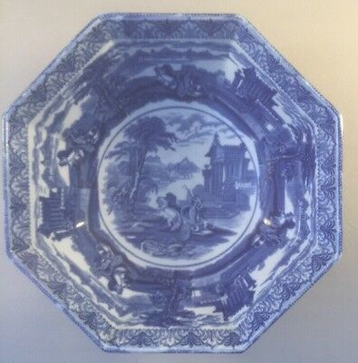 CAULDON TRIUMPHAL CHARIOT blue & white large serving bowl c.1910 Hexagonal bowl