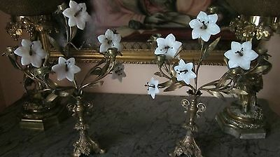 Pair Antique french candelabra  gilded metal with glass flowerheads.