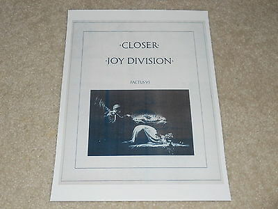 "Joy Division CLOSER 1980 Ad Mini-Poster, New Order 8"" by 11"" Ready to Frame!"