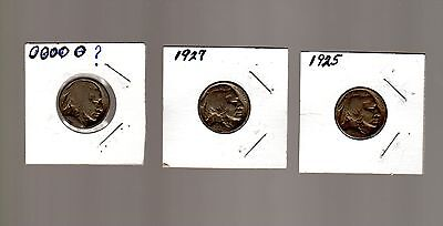 1925, 1927 and one no date US Buffalo nickels (3)