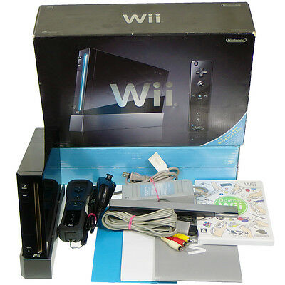 Nintendo Wii Black Console System RVL-001 Japan Import Complete Working Tested !