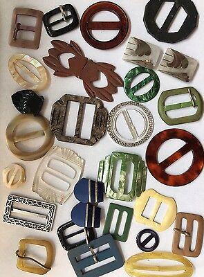 Lot Of Vintage Antique Celluloid Plastic Belt Buckles 27 Pieces