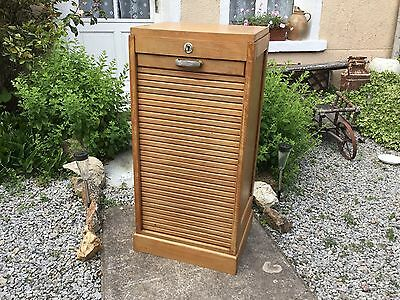 Vintage French Petite Filing Cabinet Tambour Roller Shutter Small