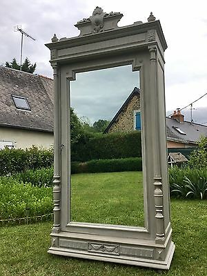 Antique French Empire Style Mirrored Linen Cupboard Armoire Wardrobe