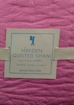 New Pottery Barn Kids PINK Hayden Standard SHAM yellow  plaid  stripes