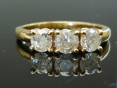 18ct Yellow gold Official 1ct 3 Brilliant cut diamond ring