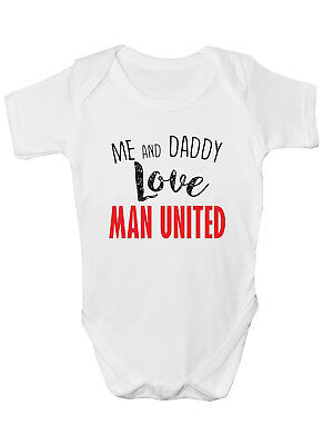 Manchester United Babygrow Fan Bodysuit Baby Clothes Gift New Baby Boy Girl