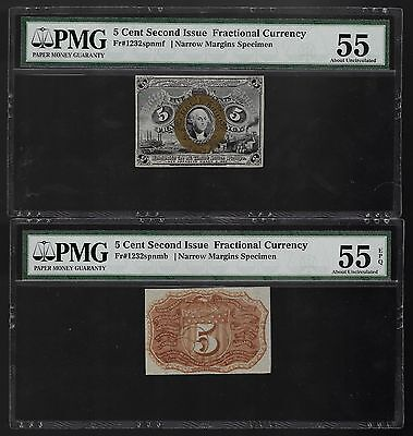 Fr. 1232sp 2nd Issue 5 Cent Front and Back SPECIMEN PMG Choice About New 55