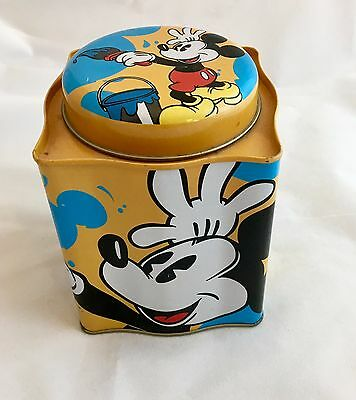 Mickey Mouse Cookie Tin Can Jar Mustard Yellow & Blue Disney
