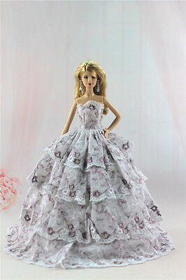 Fashion Handmade Princess Dress Wedding Clothes Gown for Barbie Doll L54