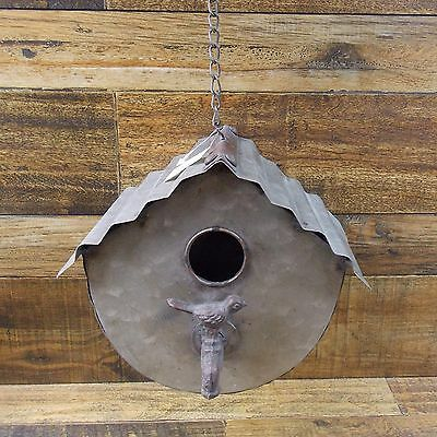 "Rustic Industrial Look Galvanized Corrugated Metal 8"" Hanging Birdhouse W Faucet"