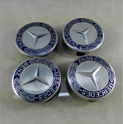 Wheel Emblem Hub Center Caps Laurel Wreath blue 75mm for Mercedes-Benz 4x