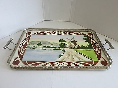 antique vintage art nouveau czech metal & porcelain serving tray