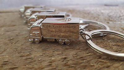 Personalised Engraved Lorry Truck Metal Keyring Keychain gift Trucker Novelty