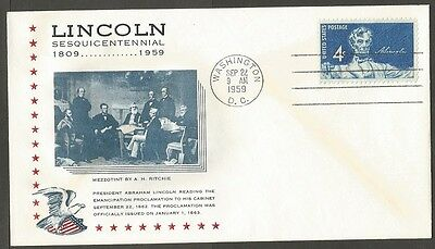 Us Cover 1959 Lincoln 4C Stamp Reading The Emancipation Proclamation Sesq Cover