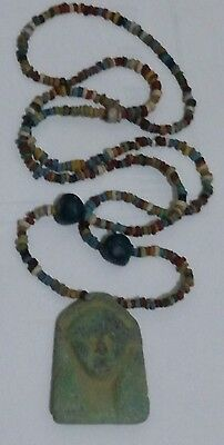 Amazing Egyptian Terracotta Necklace Mummy Beads, with USHABTI Amulet, 28""