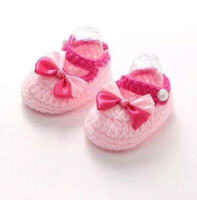Baby Girls Pink Knitted Bow & Pearls Shoes 6 - 12 Months - Knitted Booties