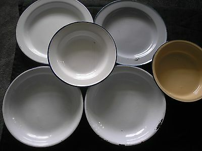 Selection Of 6 Vintage Blue Rim Enamel Plates, Bowls And Dishes.