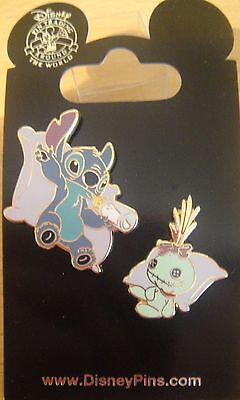 Disney Stitch and Scrump on Pillows 2 Pin Set - New on Card Pin # 79395