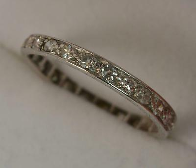 Large Art Deco Platinum and 23 Diamond Full Eternity Stack Ring Size X