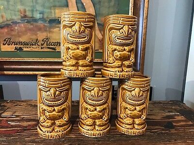 Vintage Set Of (5) Tiki Leilani Ceramic Mugs/glasses Orchids Of Hawaii Japan