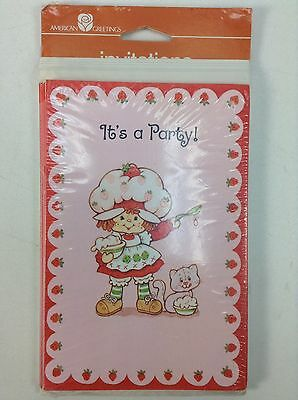 VTG Strawberry Shortcake Birthday Party 8 Invitations/Cards American Greeting