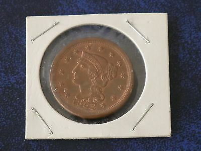USA Large Size Copper One Cent 1852 VF+