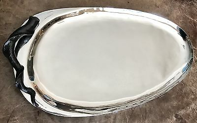 Michael Aram Large Handcrafted Stainless Steel Platter with Twisted Bronze Horn