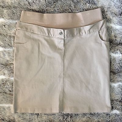 JOJO MAMAN BEBE 12 Tan Brown Camel Under Bump Skirt Cotton Chino Knee Length