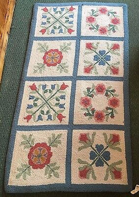 vintage New Jamestown Wool Hand Hooked pink and blue floral rug nwt